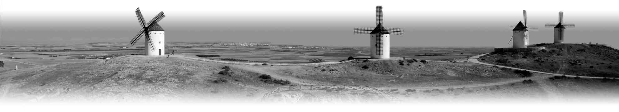 Panorámica aérea molinos de viento Castilla La Mancha